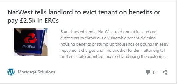 NatWest tells landlord to evict tenant on benefits or pay £2.5k in ERCs